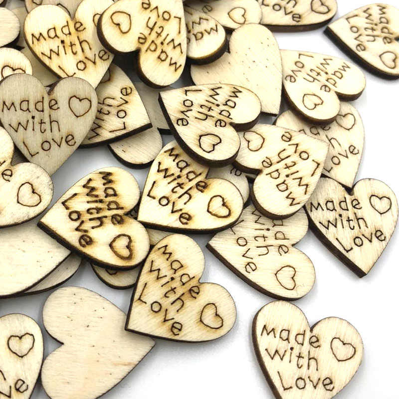 100 PCS New Scrapbooking Decor Multicolor Heart Shape Sewing Button Wooden