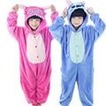 2017 Nova Lilo Ponto pijama de Flanela Animal Dos Desenhos Animados das Crianças para Meninos meninas Onesie Pijamas Presentes de Aniversário para 4 6 8 10 12 ano