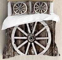 Сарай древесины Wagon Wheel постельное белье, ретро колесо на Лесоматериалы стены Barn дома деревни корзину круг, 4 шт. Постельное белье