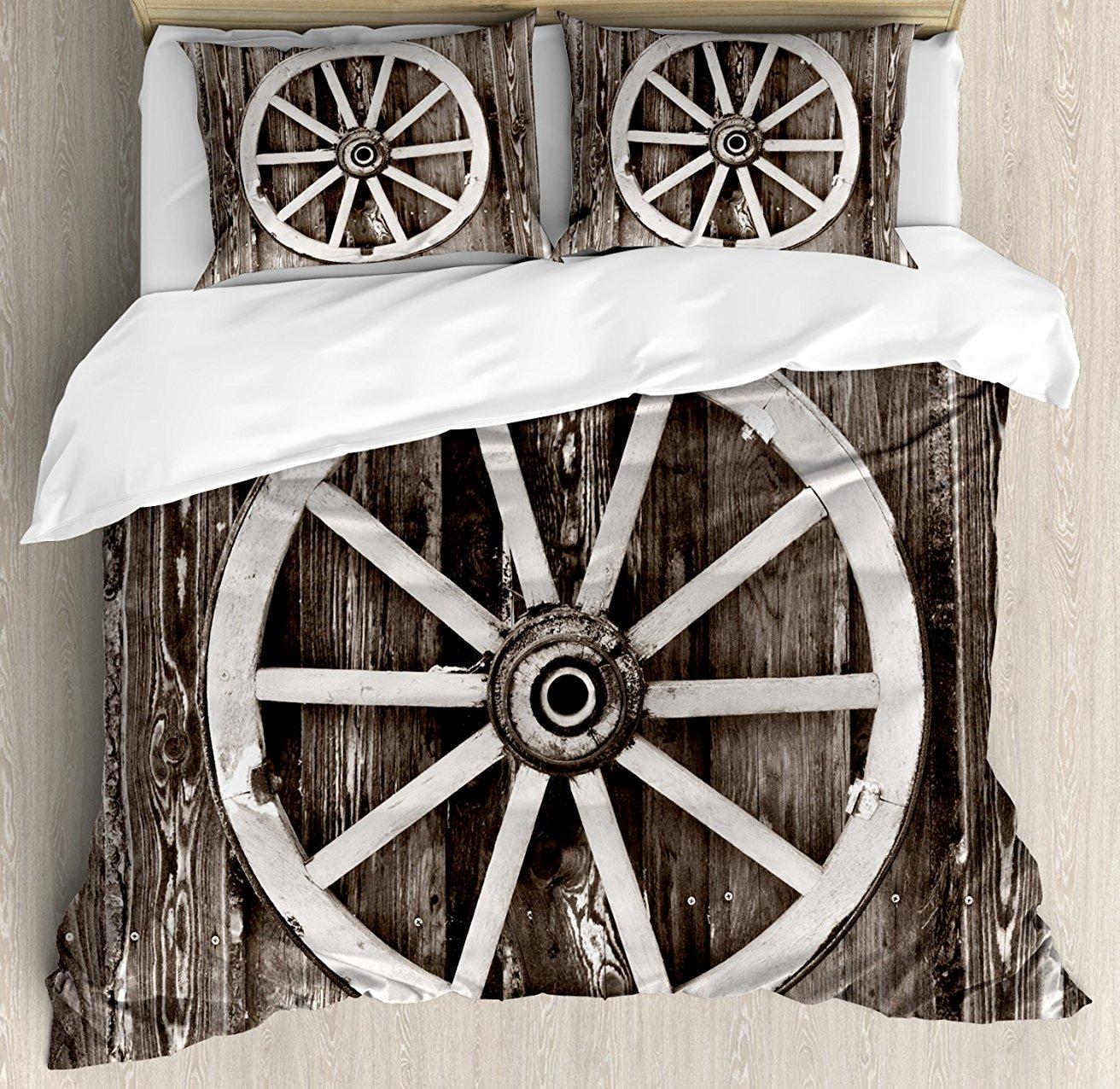 Us 10779 30 Offbarn Wood Wagon Wheel Duvet Cover Set Retro Wheel On Timber Wall Barn House Village Cart Circle 4 Piece Bedding Set In Bedding