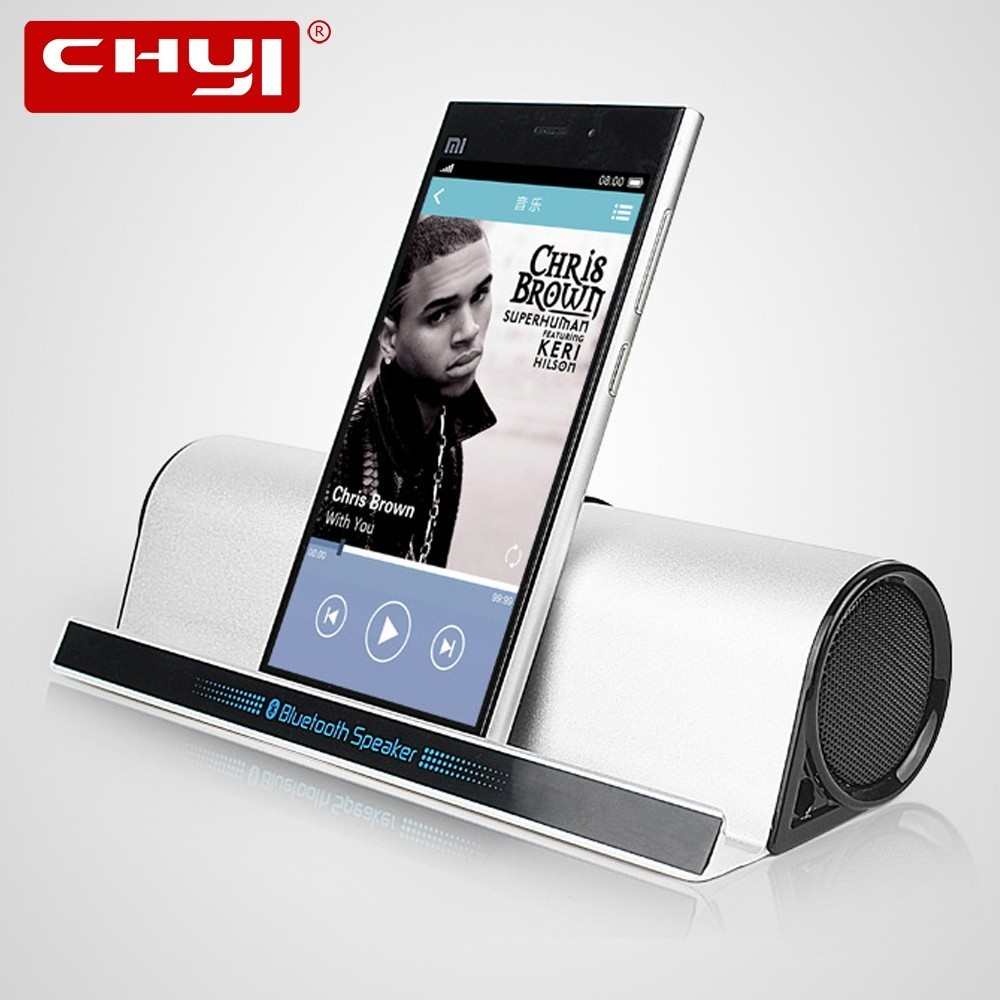 CHYI Phone Holder Bluetooth Speaker Stereo Hi Fi Subwoofer Aluminum Alloy Soundbar Boombox Sound Box AUX Tablet Holder For Vivo