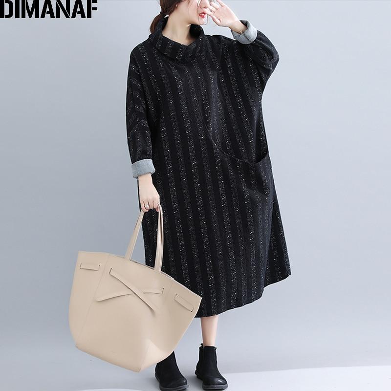 DIMANAF Women Winter Elegant Long Sleeve Dresses Plus Size Lady Vestido Female Loose Vintage Turtleneck Print Striped Dress 2018