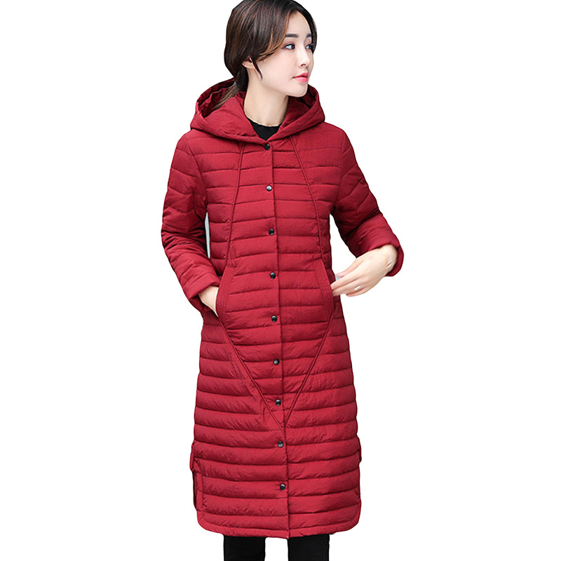 High Quality Down Cotton Coat 2017 New Women Light Thin Warm Slim Cotton Jackets Winter Hooded Plus Size X-Long Coats YP0646 wadded clothing female women winter warm hooded jacket cotton coat jackets slim thin parka ladies coats outwear plus size nz17