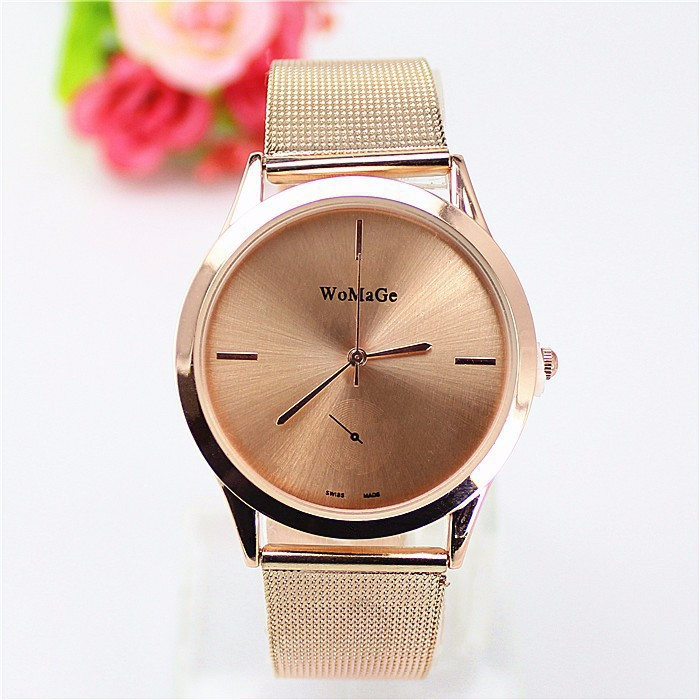 New Top brand Womage watch women luxury dress full steel watches fashion casual Ladies quartz Rose gold Female table clock mige top brand luxry women rose watch 2017 new female casual gold case fashion pink leather waterproof quartz ladies watches