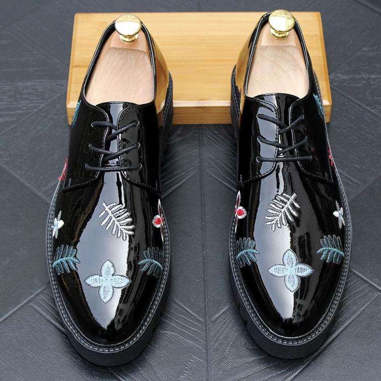Lace Robe Partie Shinny Up Plate Errfc Mode De forme Rond Hommes Brodé Luxe Leisue Tendance Chaussures Homme Noir Bout pww8xqFE6
