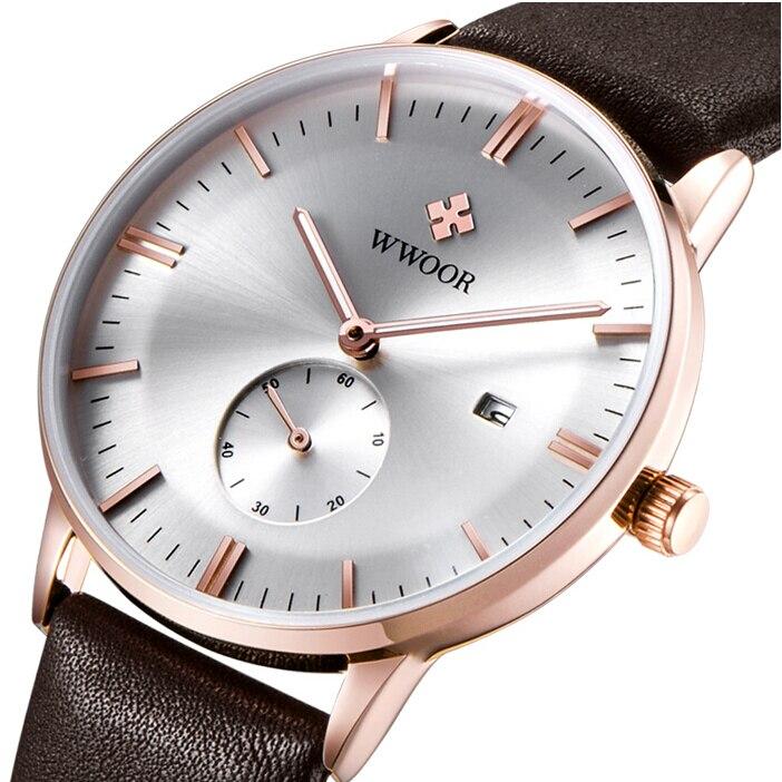 Prix pour 2016 Marque De Luxe Wwoor Bracelet En Cuir Hommes D'affaires Montre Automatique Date Heures Casual Horloge Étanche Relogio Masculino