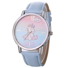 2019 popular boys and girls cartoon unicorn fur watch quartz student