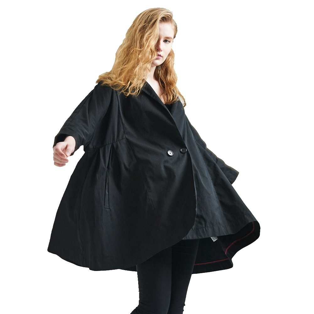 Spring and Autumnl women s fashion cloak trench coat double breasted fashion loose personality windbreaker EF1038