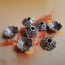 Bouchons de perles en alliage de Zinc, 8mm 10mm, 100 pièces/lot, plateaux décoratifs Vintage faits à la main, glands en argent tibétain, fournitures de bijoux à faire soi-même