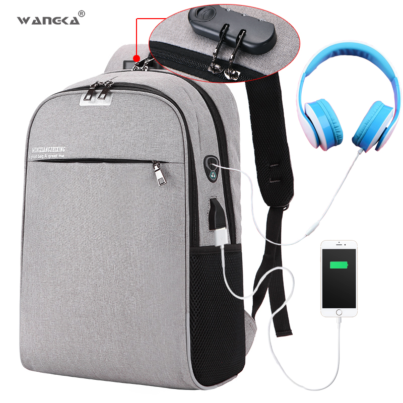 WANGKA USB Charging Laptop Backpack 15.6 inch Anti Theft Women Men School  Bags For Teenage Girls 3b5e71a98dbe5