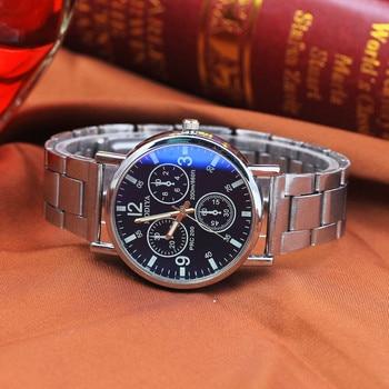 2018 Hot Sale Watch Men Fashion Black Noodles Steel Blue Glow Glass WristWatches Luxury Business relogio masculino reloj hombre 2