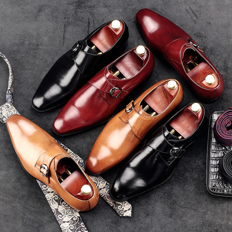 New Arrival Man Formal Dress Monk Strap Shoes Genuine Leather Male Office Oxfords Pointed Toe Men's Wedding Bridal Flats AC94 men s pu leather wedding flats new british men shoes fashion man pointed toe formal wedding shoes male dress shoes