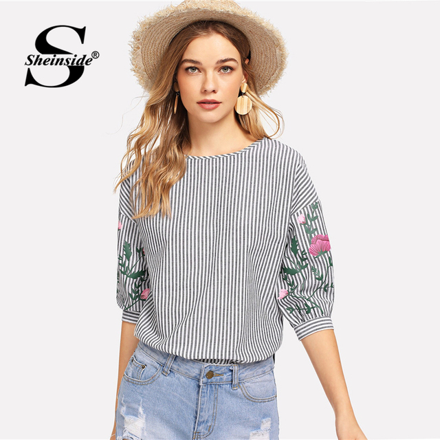 867fbd0c9b Sheinside Striped Flower Print Casual Top 2018 Womens Tops And Blouses  Women Half Sleeve Black and