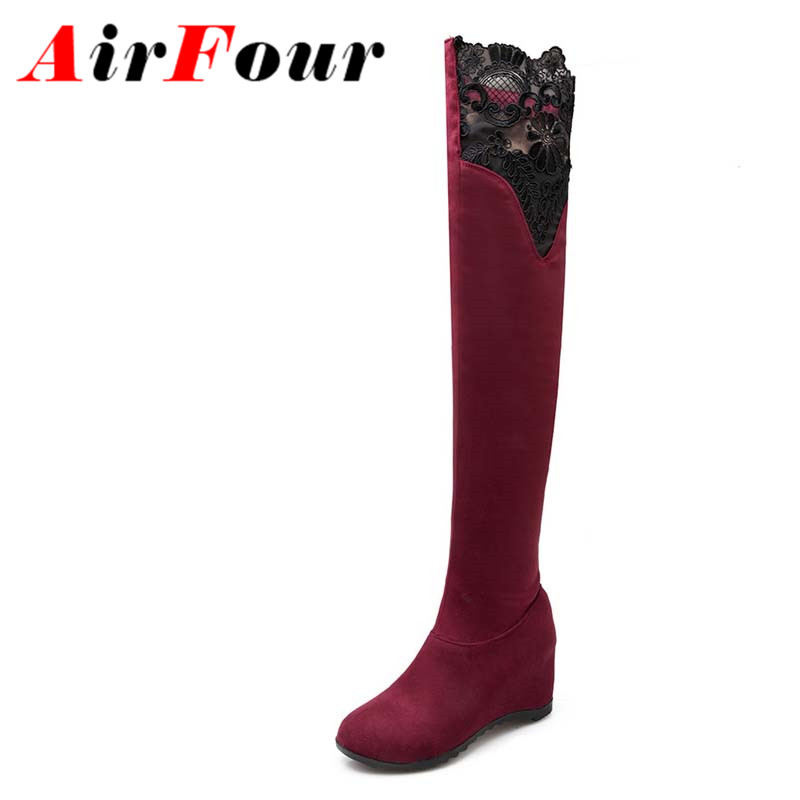 ФОТО Airfour Winter Height Increasing Long Boots Over-the-Knee Slip-On Thigh High Sexy Extreme High Heels Platform Lace Women Boots