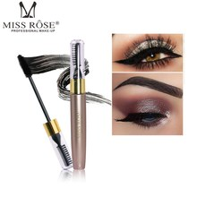 MISS ROSE 3D Fiber Mascara Waterproof Rimel Black Mascara False Eyelashes Extension Thick Lengthening Eye Lash Makeup Cosmetics exaggerated eye tail lengthening thick reusable false eyelashes