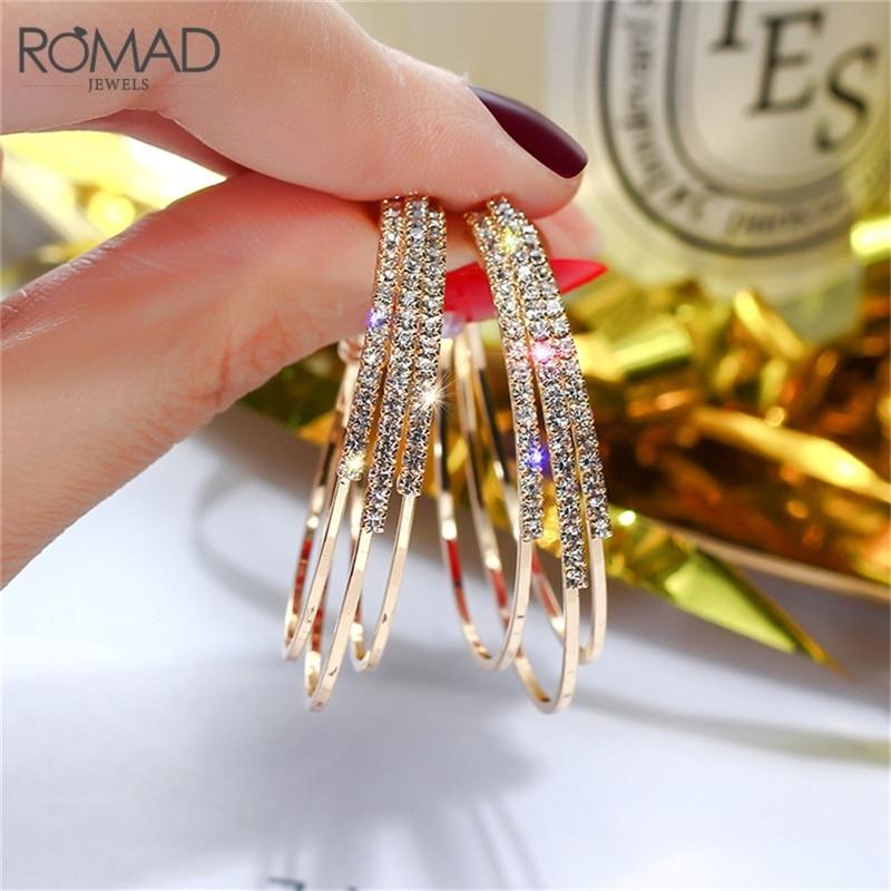 Romad moda feminina jóias multicamadas redondo hoop brincos brilhando ouro prata cor strass brincos para festa de casamento r1