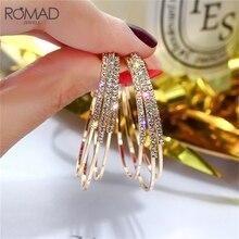 ROMAD, Модные женские ювелирные изделия, многослойные, круглые серьги-кольца, Блестящие Стразы золотого и серебряного цвета, серьги для свадебной вечеринки R1