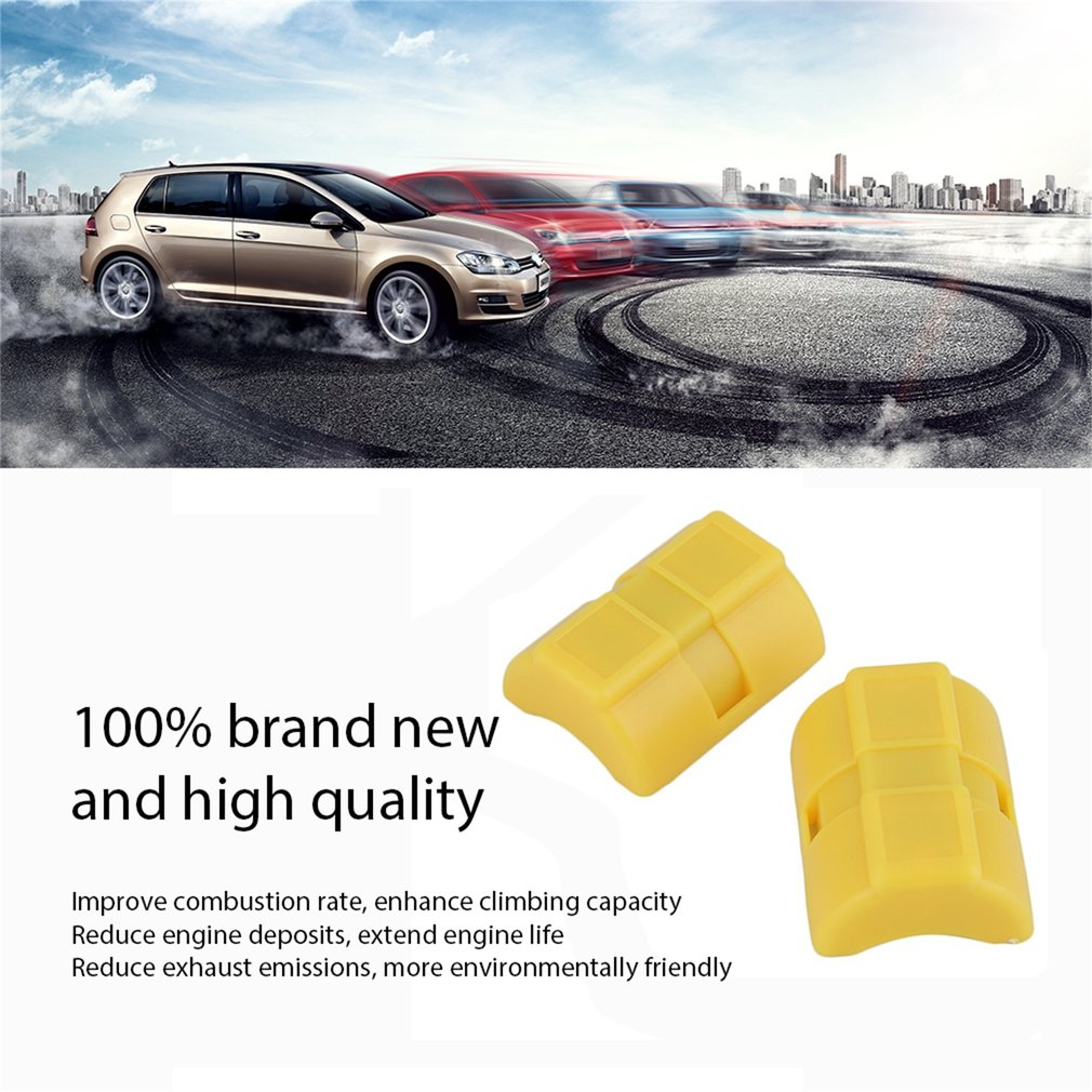Newest 1 Pair Universal ABS Magnetic Gas Fuel Power Saver Special For Car Vehicle Reduce Emission Yellow Case XP-2
