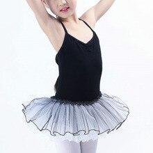 Купальники гимнастика для девочек балетные дети конкуренции хлопка без рукавов Танцы детей Детские платья юбки-пачки черный Танцы одежда