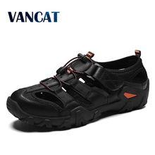Men Cow Genuine Leather Sandals Outdoor 2019 Summer Handmade Men Shoes Men Breathable Casual Shoes Footwear Walking Sandals