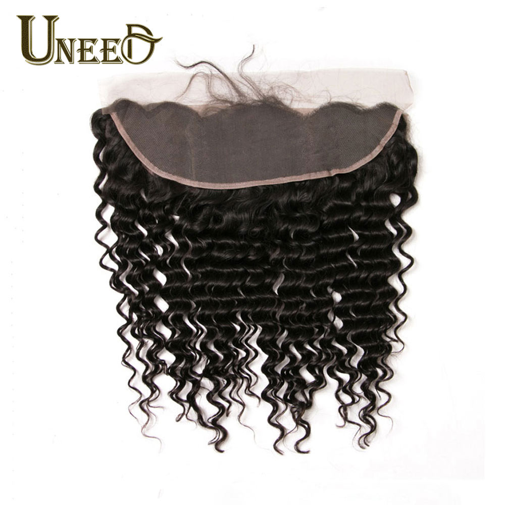 Uneed Hair Brazilian Deep Wave Lace Frontal Closure 13 4 100 Remy Brazilian Human Hair Lace