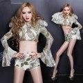Джаз мода певица сценическое шоу серебряный сексуальный костюм тонкий одежды бар ds dj танец износ производительность