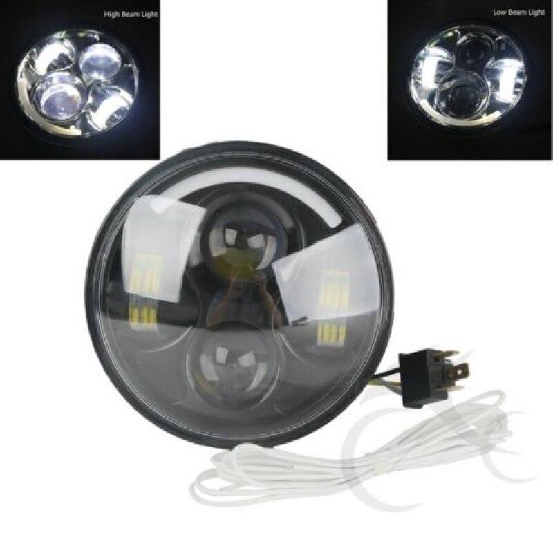 5 75 quot 5 3 4 quot New Black Chrome LED HeadLight Hi Lo Beam Assemblies Lamp Projector For Harley 08 11 FLSTSB