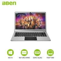 Bben N14W Тетрадь предустановки Windows 10 Intel Apollo N3450 4 ядра 4 ГБ Оперативная память 64 ГБ Встроенная память 1080 P полный Экран и M.2 SSD Порты и разъёмы ноут