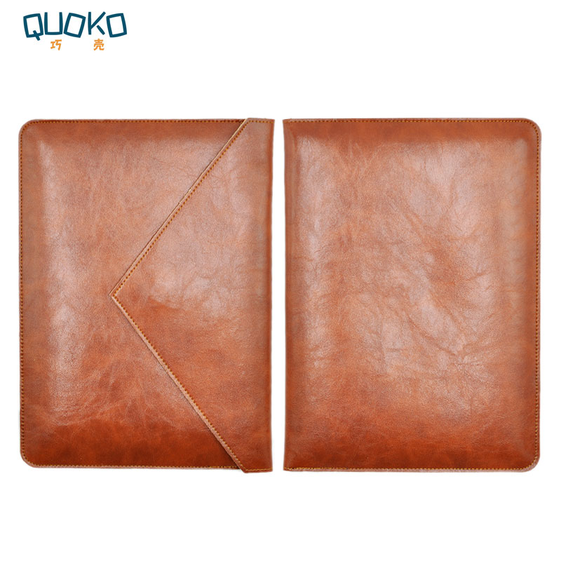 цена Laptop bag case Microfiber Leather Sleeve for MacBook Pro Retina & Air 12 13 15 Dual Pocket Envelope style