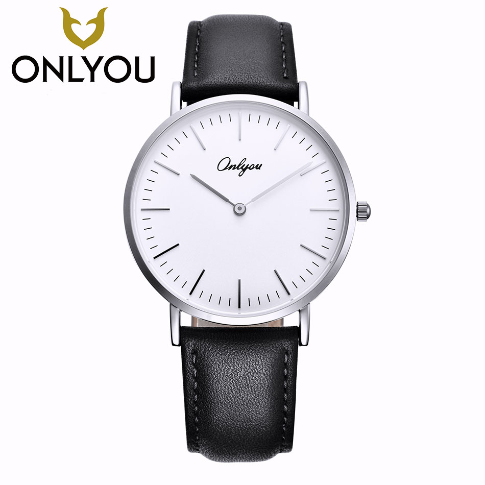 ONLYOU Lovers Watches Top Fashion Brand Men Business Genuine Leather Strap Watch Women Dress Casual Waterproof Clock Wholesale onlyou brand lovers watch women men quartz genuine leather wrist watches fashion business female male clock with calendar 81092