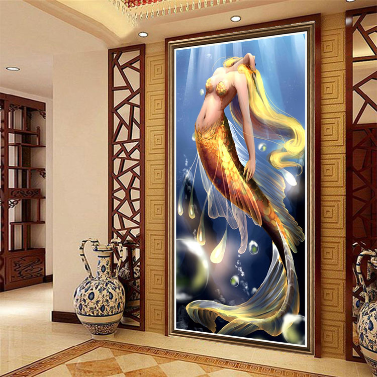 aliexpresscom buy diy full diamond painting resin square drill fantasy mermaid undersea landscape mosaic home decor cross stitch wall sticker from - Mermaid Home Decor
