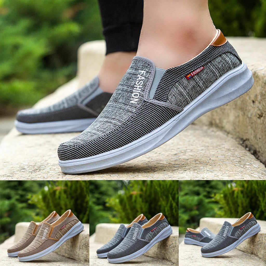 SAGACE de moda al aire libre de los hombres ocasionales de la lona de zapatos Slip-On zapatos perezosos zapatos transpirables zapatillas de deporte zapatos planos Zapatos de verano 2019