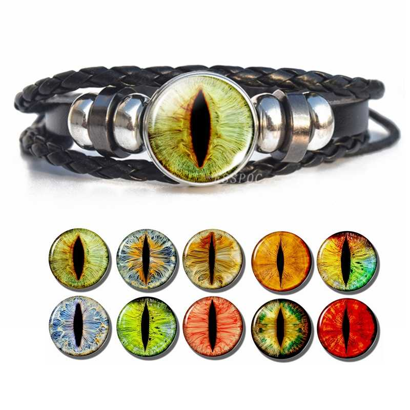 Evil Dragon Eyes Black Leather Bracelet Handcraft Dragon Eye Glass Cabochon Weave Leather Wristband Punk Jewelry for Men Gifts