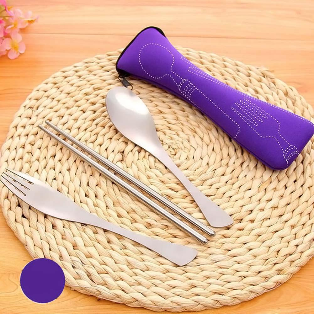 Outdoor Camping Cutlery Set 3PCS Portable Dinnerware Set Travel Picnic Tableware Soup Bag Purple