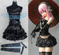 Custom Made Nitro Super Sonic Super sonico Cosplay Costume black leather clothing top+skirt