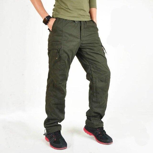 Мужчины Зима Толстые Теплые Брюки-Карго Хлопок Плюс Размер Рабочие Брюки Army Green Черный Военный Стиль Брюки