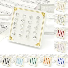 Fashion Cute 10 pair/set Piercing Cube Style Square Crystal Bling Stud Earrings Charm Jewelry