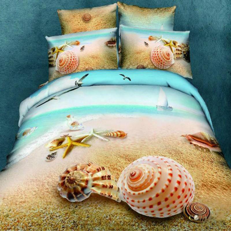 3d Hd Sea Beach Shell Bedding Sets 100 Cotton Blue Marine