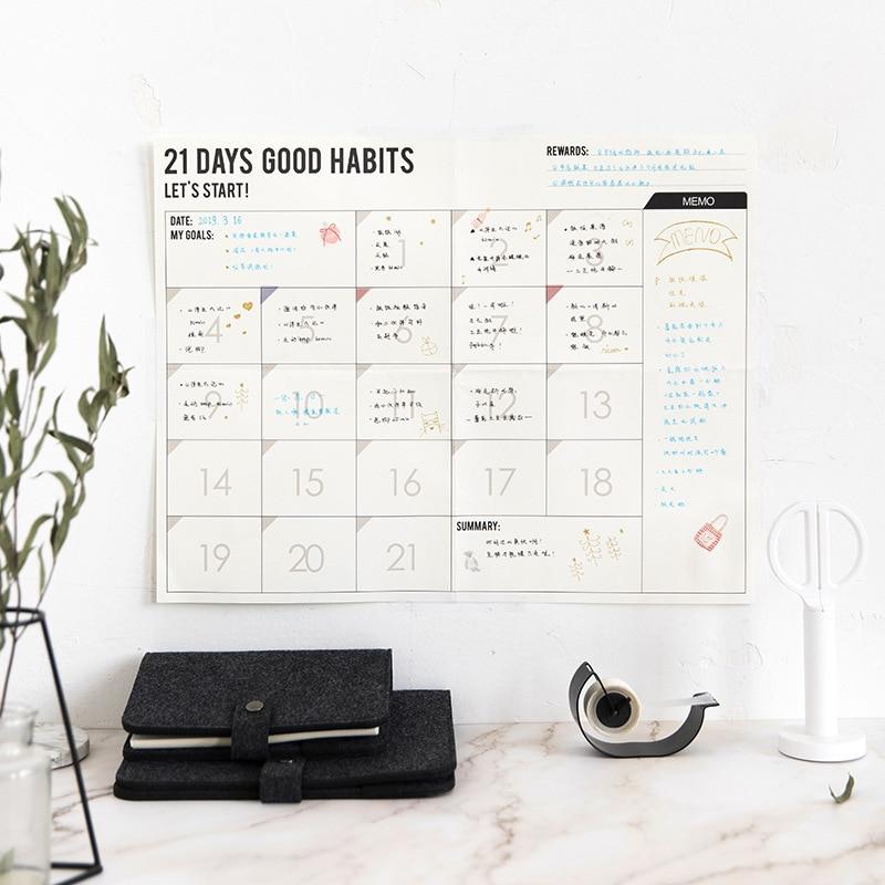 Brief Style Undated DIY Monthly Plan/100 DAYS Plan/21 Days Plan Paper 35*45cm Wall Scheduler Study Work Supplies 1 Sheet