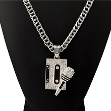 Hip Hop Rock Music Tape Microphone Pendant Necklace For Men Zinc Alloy Gold Color Filled Chain Boys Trendy Rhinestone Necklace цена в Москве и Питере
