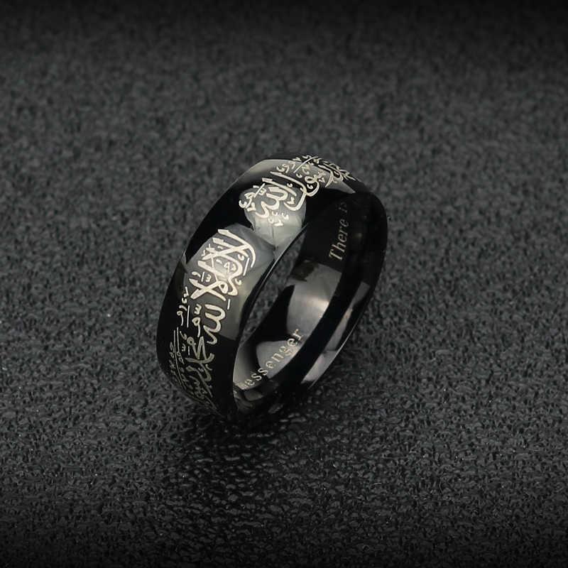イスラム教徒の shariah Innopes 黒ゴールドヴィンテージ指輪ステンレス鋼のための男性女性
