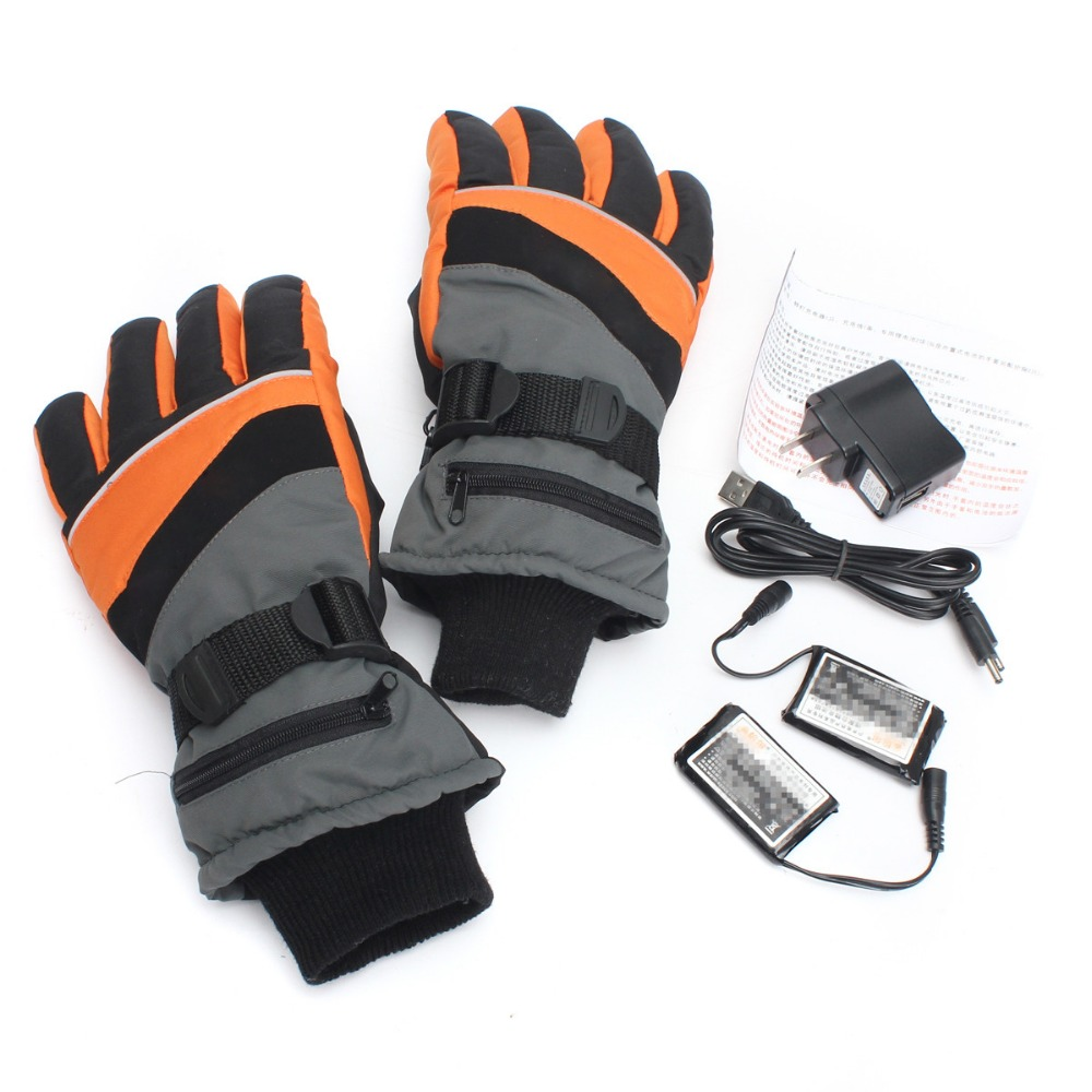 1 Pair Motorcycle Outdoor Work Electric Heated Gloves Rechargeable Battery Hands Warmer 1 pair 4000mah rechargeable battery with smart switch on off electric heated warm glove winter outdoor work ski warmer gloves