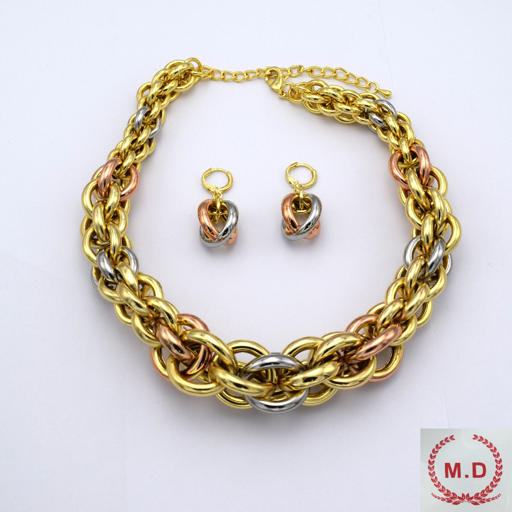 """M.D Shop Jewelry Set For Women Wholesale """"ITALY 750 """"Gold Plated Jewelry 3 Colors 2016New"""