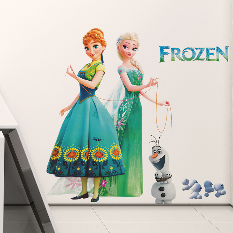Cartoon Olaf Elsa Anna Princess Frozen Wall Stickers For Kids Room Home Decoration Diy Girls Decals Anime Mural Art Movie Poster