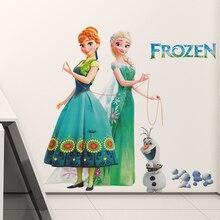 Dibujos Animados Olaf Elsa Anna princesa Frozen pegatinas de pared para la habitación de los niños decoración del hogar Diy calcomanías para chicas mural de anime Art Movie Poster