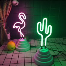 LED Flamingo Cactus Tube Decoration Neon Light Party Wedding Holiday Home Adorn Night Lamp USB Cable Powered Table Luminaire