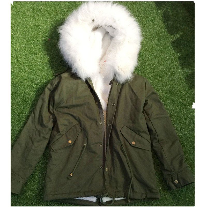 2017 Parkas For Women Winter Army Green Wadded Coat Large Natural Real Fur Collar Thick Jacket Outerwear Female Snow Wear Brand