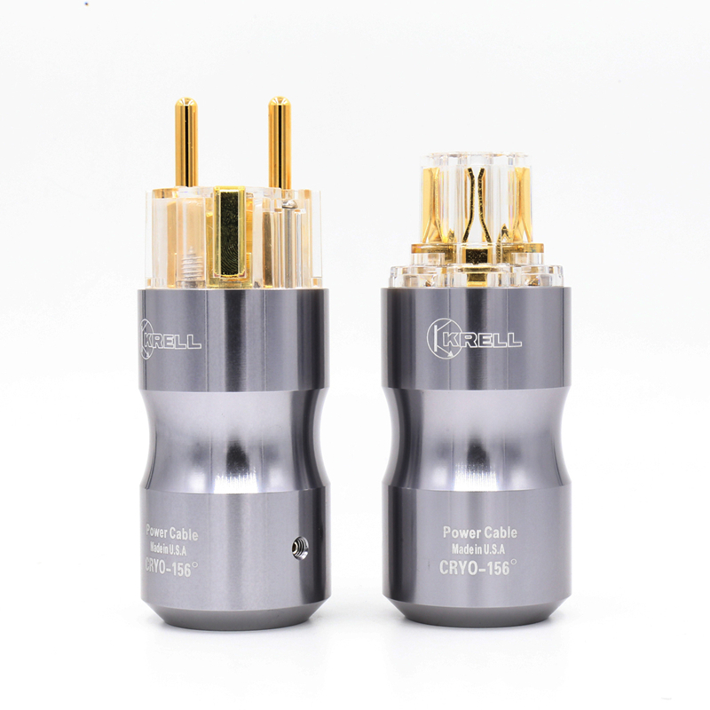 где купить 1Pair Gold Plated Schuko AC Power Plug HI-End European male female plug for hifi power cord cable дешево