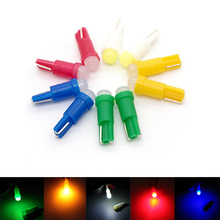 50pcs T5 COB Led Ceramic Dashboard Gauge Instrument Wedge Base Car Auto Side Wedge Light Lamp Bulb 12V White/Blue/Red/yellow