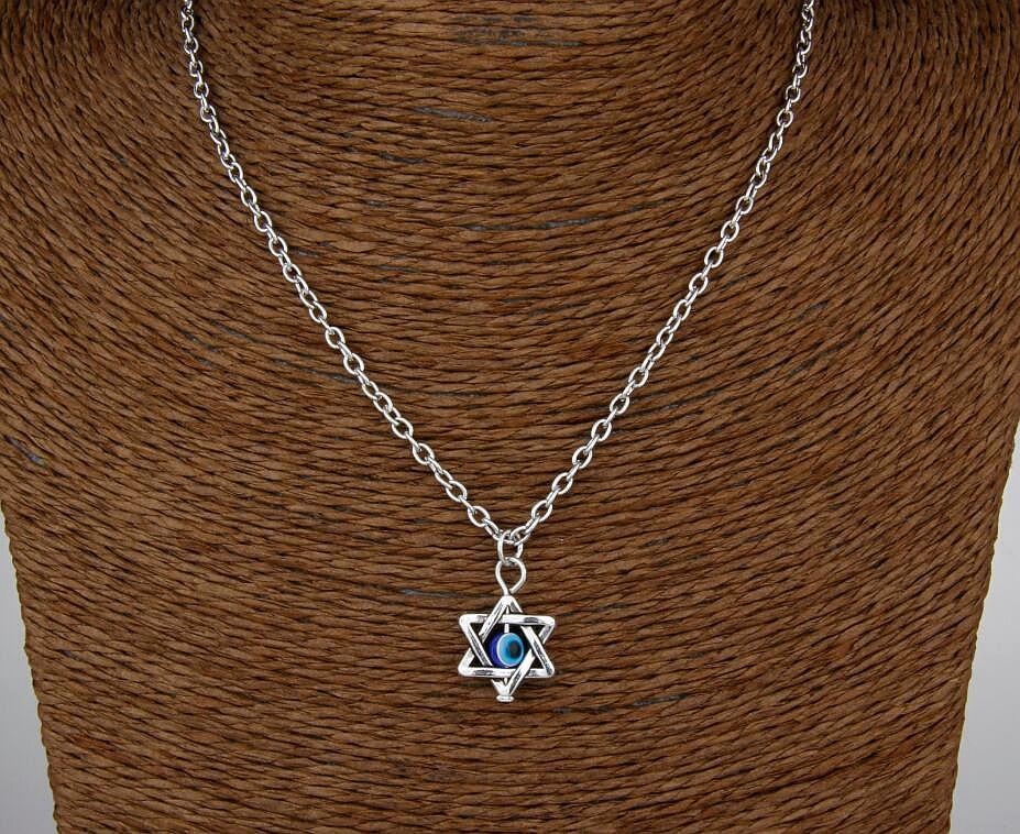 Hot Unique Design Retro Silver Star Evil Eye Pendant Clavicle Short Special Necklace Fashion Jewelry Friendship Gift 6 pcs H166